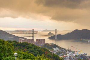 Megami Bridge spans the Bay of Nagasaki, Japan